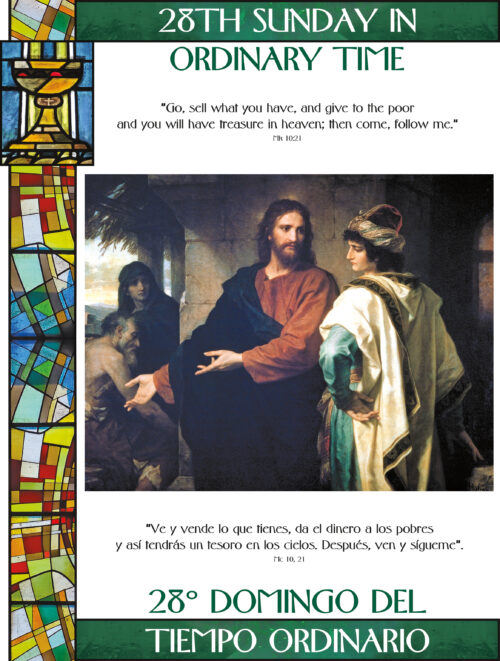 28th Sunday of Ordinary Time - Stained Glass - Bilingual